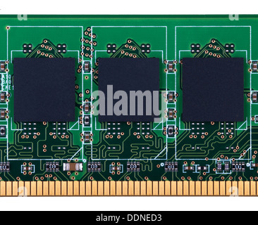 Partially view of SDRAM DDR PC memory module. Close-up. Isolated on white  background. - Stock Photo