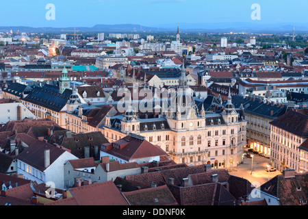 Urban landscape of Graz at blue hour, Styria, Austria - Stock Photo