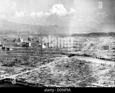 Hiroshima Atomic bomb aftermath, destruction of Hiroshima, Japan - Stock Photo