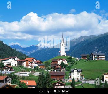 Village of Schmitten in Engadin. Canton Graubunden. Switzerland - Stock Photo