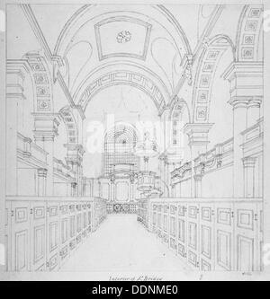 St Bride's Church, Fleet Street, City of London, 1815. Artist: Valentine Davis - Stock Photo