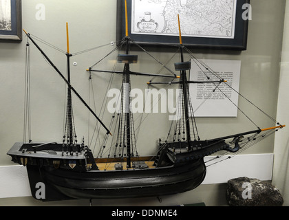 Hokl or Holke, boat widely used in northern Europe, and ship goods. Model. Museum of History and Navigation. Riga - Stock Photo