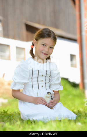 Girl with chicken chicks on meadow - Stock Photo