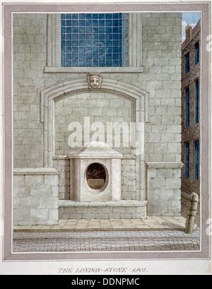 The London Stone, Cannon Street, City of London, 1801. Artist: Anon - Stock Photo