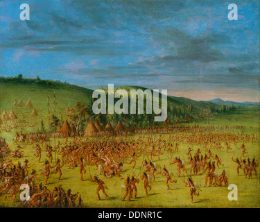 GEORGE CATLIN (1796-1872) American artist. 'An Indian Ball-Play' about 1847 - Stock Photo
