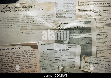 Latvia. Nazi occupation (1941-1944). Accounting documents for delivery of agricultural taxes and warning for non - Stock Photo