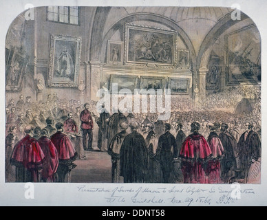 Guildhall Council Chamber, City of London, 1861. Artist: Anon - Stock Photo