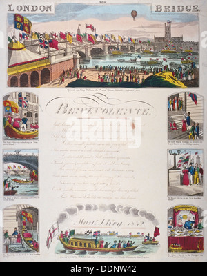 Opening ceremony of the new London Bridge, 1831. Artist: Anon - Stock Photo