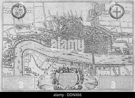 Map of the City of London and City of Westminster in c1600, 1708. Artist: Anon - Stock Photo