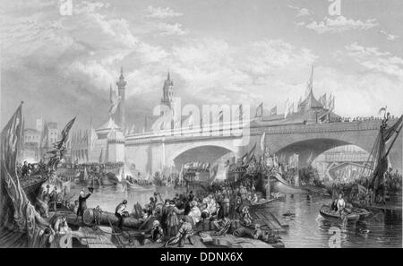 The opening of London Bridge by King William IV and Queen Adelaide, 1831. Artist: Anon - Stock Photo