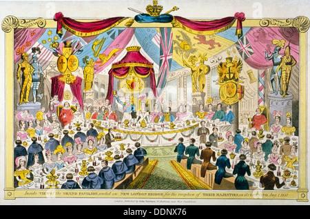 Royal opening of London Bridge, 1831. Artist: Anon - Stock Photo