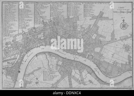 Map of the City of London, the River Thames, the City of Westminster and surrounding areas, 1700. Artist: C Inselin - Stock Photo