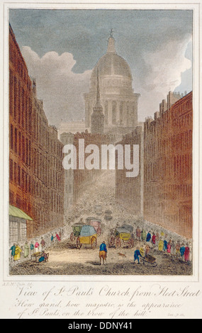View along Fleet Street towards St Paul's Cathedral, City of London, 1805. Artist: Anon - Stock Photo
