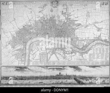 Map of Westminster, the City of London, Southwark, the Thames and surrounding areas, 1710. Artist: Anon - Stock Photo