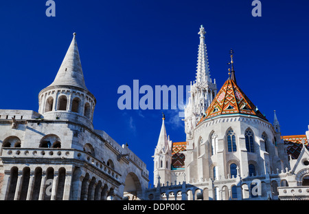 Fisherman's Bastion on the Buda Castle hill in Budapest, Hungary - Stock Photo