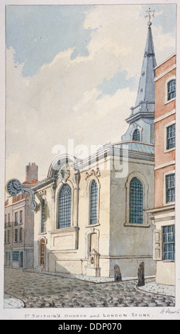Church of St Swithin London Stone, City of London, 1840. Artist: Frederick Nash - Stock Photo