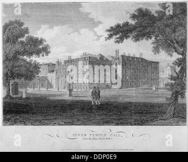 View of Inner Temple Hall from King's Bench Walk, City of London, 1804.                              Artist: John - Stock Photo