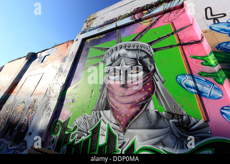 Cyprus, Limassol, Lemesos, houses with graffiti in the old town - Stock Photo