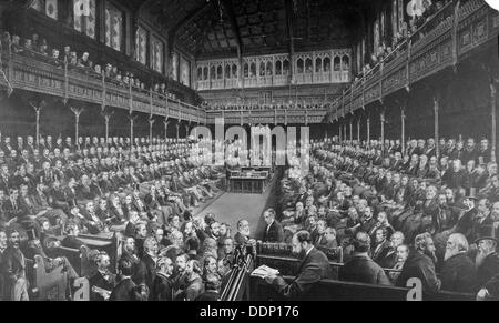 Chamber of the House of Commons, 1875.                                                 Artist: Spencer, Sawyer, - Stock Photo