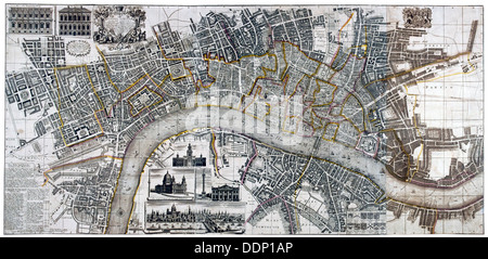 Map of the City of London, City of Westminster, River Thames, Lambeth and Southwark, 1736. Artist: Anon - Stock Photo
