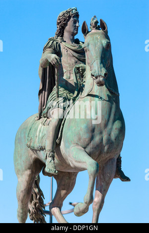 Statue of Louis XIV in Lyon city, France - Stock Photo