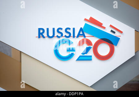 St. Petersburg, Russia. 05th Sep, 2013. The logo of the G20 Leaders? Summit is seen in St. Petersburg, Russia, 05 - Stock Photo