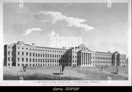 View of the new Bethlem Hospital, St George's Field, Southwark, London, 1814.       Artist: Anon - Stock Photo