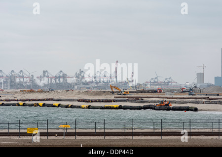 Construction site of new container terminal Maasvlakte 2, Rotterdam Harbor, Netherlands - Stock Photo