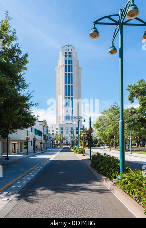 Orange County Courthouse building at the end of North Magnolia Avenue in downtown Orlando, Florida - Stock Photo
