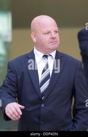 Westminster Magistrates Court LONDON, ENGLAND - SEPTEMBER 05: Sun journalist Jamie Pyatt leaves Westminster Magistrates - Stock Photo