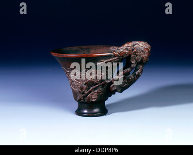 Footed rhino horn cup, Qing dynasty, China, 18th century. Artist: Unknown - Stock Photo