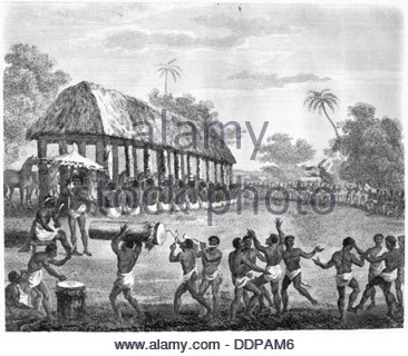 Victims for sacrifice tied up at the start of a festival, Dahomey, 1793. Artist: S Waterson - Stock Photo