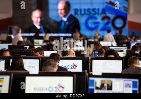 St. Petersburg, Russia. 05th Sep, 2013. Journalists work in the media center at the G20 summit in St. Petersburg, - Stock Photo