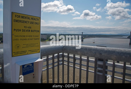 Poughkeepsie, New York - A suicide prevention telephone on the Walkway Over the Hudson. - Stock Photo