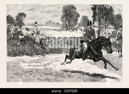 THE HOUSE OF COMMONS POINT TO POINT STEEPLECHASE NEAR RUGBY,  MR. ELLIOTT LEES WINS ON DAMON, engraving 1890, UK, - Stock Photo