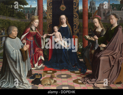 The Virgin and Child with Saints and Donor, c. 1510. Artist: David, Gerard (ca. 1460-1523) - Stock Photo