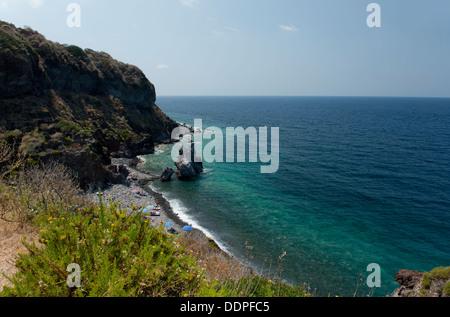 A rocky beach near Malfa on the island of Salina, The Aeolian Islands, Messina, Sicily, Italy - Stock Photo