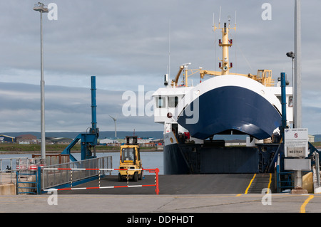 MV Earl Sigurd in Kirkwall harbour preparing to leave for Westray. - Stock Photo