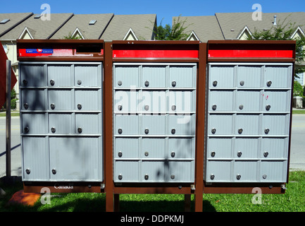 Canada post mailboxes in a suburban street in Ontario - Stock Photo