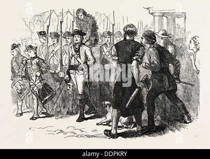 A COUNTRYMAN TARRED AND FEATHERED, UNITED STATES OF AMERICA, US, USA, 1870s engraving - Stock Photo