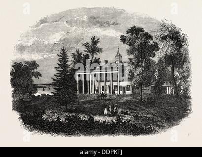 WASHINGTON'S RESIDENCE, MOUNT VERNON, UNITED STATES OF AMERICA, US, USA, 1870s engraving - Stock Photo