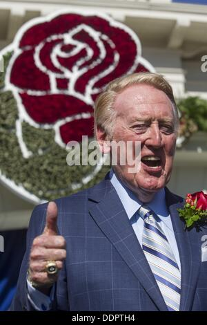 Los Angeles, CA, USA. 5th Sept, 2013. Hall of Fame broadcaster VIN SCULLY, an icon in American sports history and - Stock Photo
