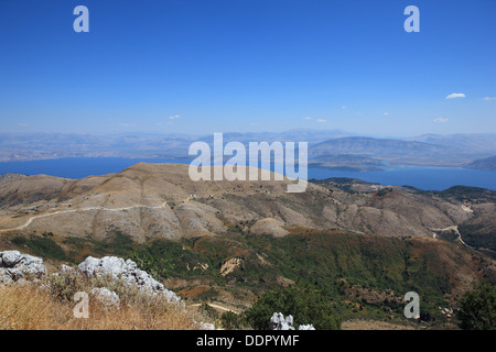 View towards Albania from the summit of Mount Pantokrator in Corfu Greece - Stock Photo