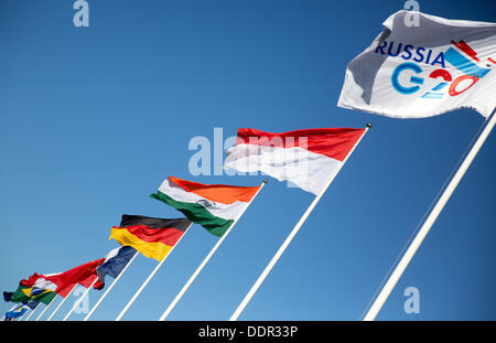 St. Petersburg, Russia. 06th Sep, 2013. Flags of G20 states are pictured at the G20 summit. The G20 summit takes - Stock Photo