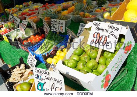 Fruit and veg market stall, Salisbury, Wiltshire England UK - Stock Photo