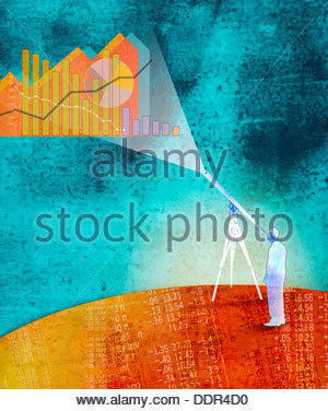 Businessman viewing graphs through telescope standing on financial figures - Stock Photo