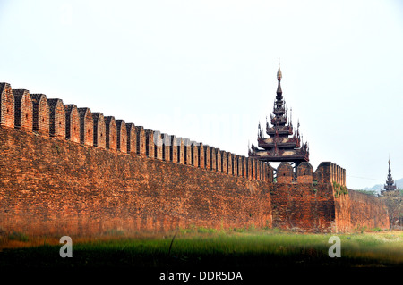 wall and towers of Mandalay Fort Myanmar - Stock Photo