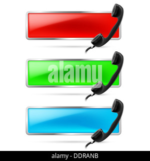 Set of three contact call signs in red, green and blue. Retro black phone receiver on the right. Hot line icons. - Stock Photo