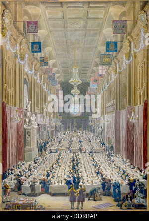 View of the Lord Mayor's Dinner at the Guildhall, City of London, 1828. Artist: George Scharf - Stock Photo