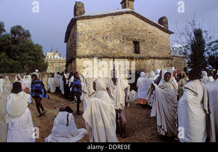 Pilgrims during Easter Sunday at Church of St. Mary of Zion. Aksum, province of Tigray. Ethiopia - Stock Photo